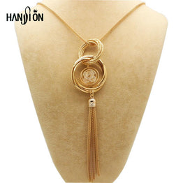 Double Circles Long Gold / Silver Plated Necklaces & Pendants Women's Jewelry