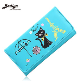 Lovely Cat Design Candy Colors PU Leather Wallet for Girls