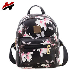Floral Printed New Fashion Leather Backpack for Teenage Girls