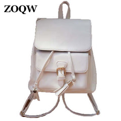 European Style PU Leather Casual Backpack for Teenage Girls