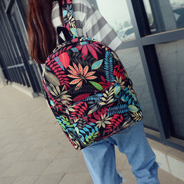 New Fashion Floral Print Canvas Backpack For Teenagers