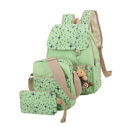 New Fashion Backpack+Messenger+Small Purse Canvas Waterproof 3 Pcs Backpack Set for Teenagers
