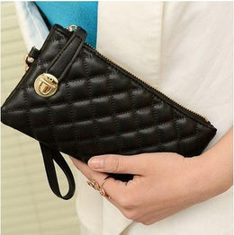 Vintage Rhombus Pattern PU Leather Satchel Clutch for Women