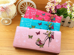 Butterfly Design High Quality Smooth PU Leather Wallets for Women