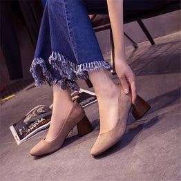 Spring Autumn Thick Square Heel Soft Suede Leather Casual Pumps for Women