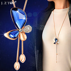 Butterfly Pendant Long Chain Blue Gem Rhinestone Crystal Necklace