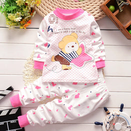 Winter Newborn Baby 2pcs Cotton Cartoon print Unisex Clothing Set