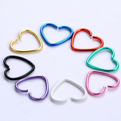 Stainless Steel Heart Shape Nose / Lip Piercing Rings 40pcs pack