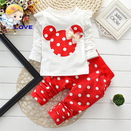 Long Sleeve Dotted Baby Girl Cotton Bowknot T-Shirt+Pant Clothing set