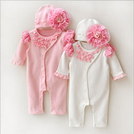 Newborn Baby Girl Rompers Lace Flowers Jumpsuit +Hat Body Suits