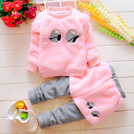 Cute Cartoon Pearl Eyes Long-sleeved Tops Pants Clothing set for Baby Girl