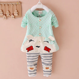 New Winter Style Cotton Baby Girl Clothing Set with Animal Bebe