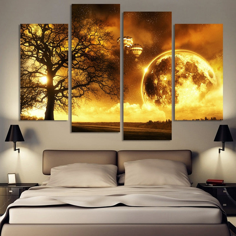 4 Panel Dream Planet view Oil Canvas Painting Unframed Wall Decoration
