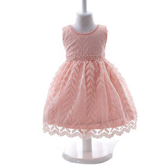 High Quality Casual flowers with lace Baby Girl Dress for Birthday Party/Baptism