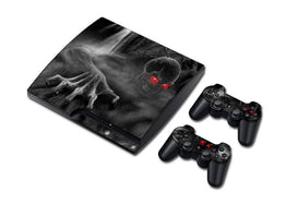 Skull Design Vinyl Skin Sticker for PS3 Slim + 2 Controller Controle Skins Stickers