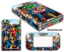 Marvel Heroes Design Vinyl Cover Decal Sticker For Nintendo Wii U Console