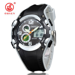 OHSEN Digital 30M Waterproof Black Rubber Women's Sport Watch