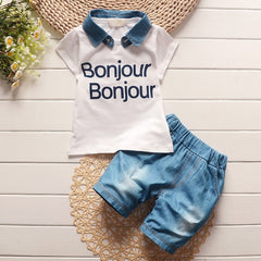 Jeans Denim Lapel t shirt + jean shorts clothing sets