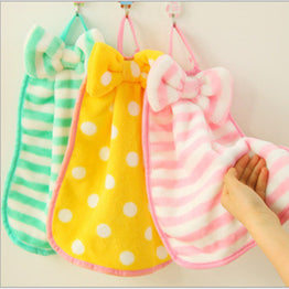 Cute Butterfly-knot Towels Kawaii Stripe Kitchen/Bathroom Hand Towel