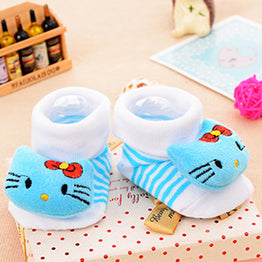 Infant Newborn Socks Suitable 0-18 Month Blue Cat Warm Cozy Non-slip winter socks 100% Cotton