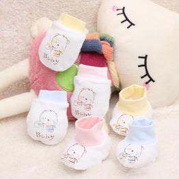 Infant Mitts Newborn Cartoon Printing Gloves Protection Face Cotton Anti Scratch