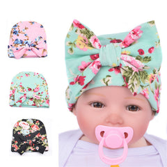 Infant and Kids Flower Hat Hospital Newborn Baby Knit Beanie With Bow