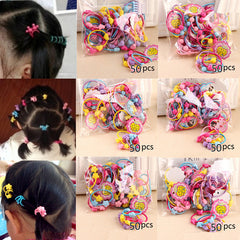 50pcs/Pack Cute Children Elastic Hair Bands Kids Hair Ties Rubber Band