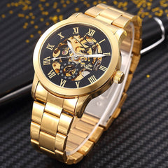 ShenHua Golden Skeleton Automatic Mechanical Fashion Watch for Men