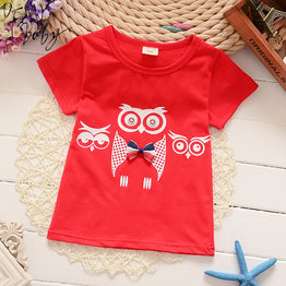 T-Shirts Kids Owl Cartoon Tee Print Child Tops Baby Girls Clothes