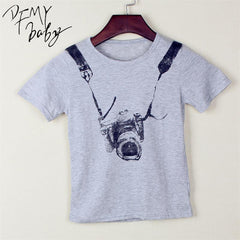 Gray Children shirts Clothes Cotton Boys T Shirts Camera Style Print