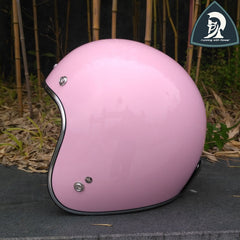 Motorcycle Pink Vintage Open Face Scooter Helmet For Women