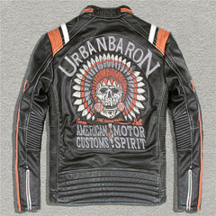 Harley Skull Leather Jackets men's genuine Leather biker jacket motor biker