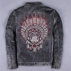 Embroidery Genuine Cow Leather Clothing for Harley Motorcycle rider jacket