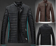 Mens Casual Leather Jackets And Coats Fashion Plaid Moto Harley Jacket