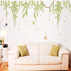 BIG Green Leaves Pink Flowers Birds Decal Vinyl Removable DIY Home Art Wallpaper