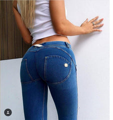 Low Waist Women's Skinny Butt Lifting Blue Denim Slim Jeans