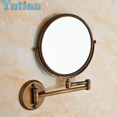 "Antique 8"" Double Side Bathroom Folding Brass Shave Makeup Mirror Wall Mounted Extend YT-9102"