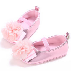 PU Soft Soled Pink Flower Cotton Shoes for Baby