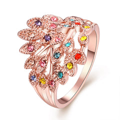Rose Gold Plated Finger Ring Flower Colorful Zircon Band Round Jewelry Accessory For Women