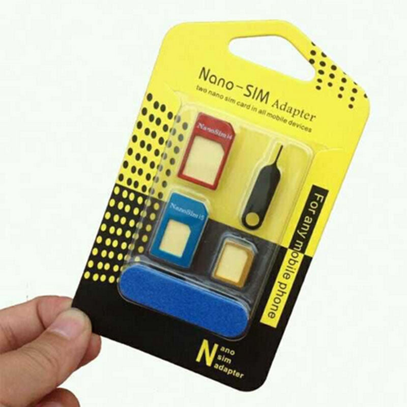 Auto Devices 5 IN 1 Nano SIM Card to Micro Standard Adapter Converter Set for iPhone
