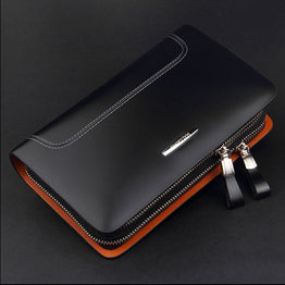 Men Business clutch Wallet Design Genuine Leather Long Wallets