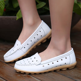 Genuine Leather Comfortable Slip-on Spring Summer Flats for woman