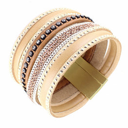 Rhinestone Wide Magnetic Leather Wrap Bohemian Style Bracelets