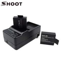 2PCS 3.7V 900mAh Li-ion SJ4000 Battery with Dual Charger for SJCAM SJ4000 SJ 4000 Action Camera