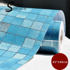 45x100CM Mosaic 3D Aluminum Foil Anti-oil Wallpapers For Living Room/Kitchen