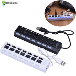 7 Ports Usb Hubs Charger High Speed USB 2.0 480Mbps On/Off Switch