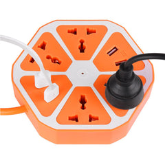 1.7M Cable 4 USB +4 Switch Socket Hexagon Extension  EU Plug 3 Colors