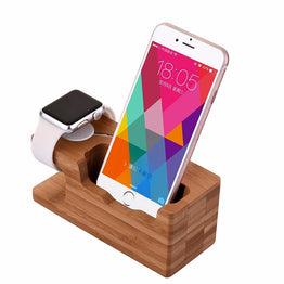 3 USB Ports Bamboo Wood Charger AC Power Adapter Charging Dock Station For Apple Watch EU Plug