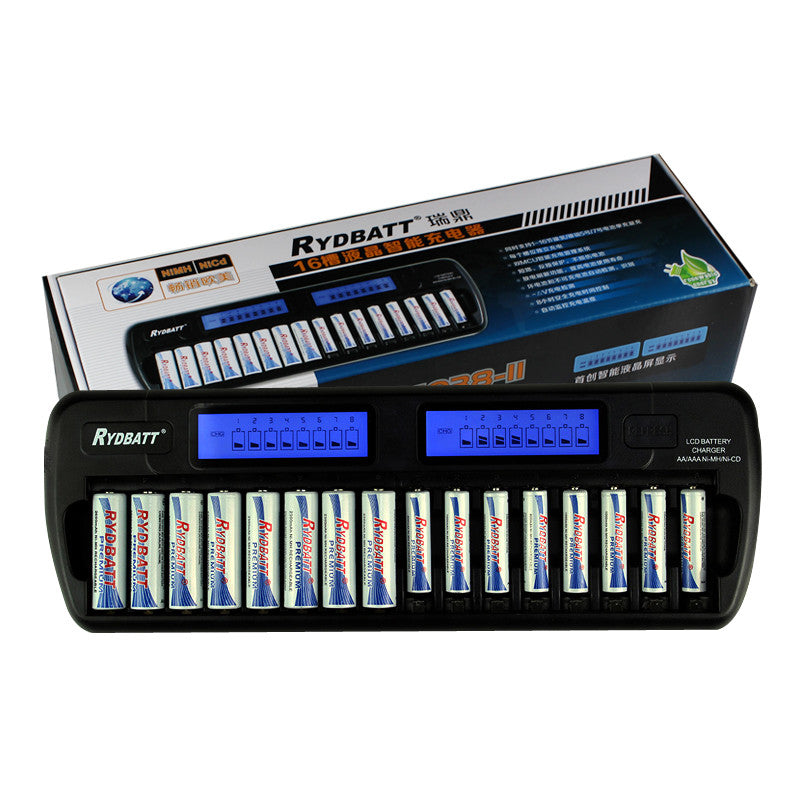 16 Slots LCD Smart Battery Charger Batteries with Smart LCD Display