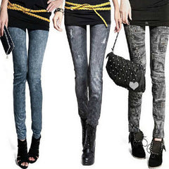 Fall/Summer Casual Slim Nine Fitness Denim Printed Jeans/Leggings for Women